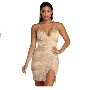 Windsor Golden Lace Bodycon Dress